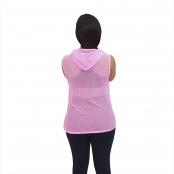 Foto 3 Blusa em Tela Sem Mangas com Capuz e Bolsos Rosa Fluorescente