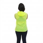 Foto 3 Blusa em Tela Sem Mangas com Capuz e Bolsos Verde Fluorescente