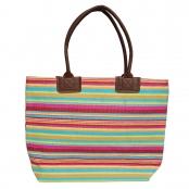 Foto 1 Bolsa de Praia com Textura de Palha Listrado Pink