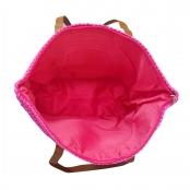 Foto 2 Bolsa de Praia com Textura de Palha Pink