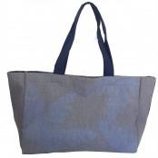 Foto 1 Bolsa de Praia de Lona Forrada com Bolso Interno Azul Marinho
