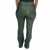 Foto 3 Calça Bailarina Flare com Bolsos e Cós Largo Cirrê Verde Militar