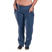 Foto 1 Calça Bailarina Flare Plus Size com Bolsos e Cós Largo Suplex Azul Marinho