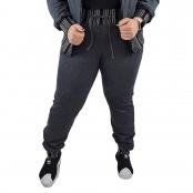 Foto 1 Calça Jogger Moletom Feminina Plus Size Cinza Escuro com Detalhe