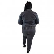 Foto 3 Calça Jogger Moletom Feminina Plus Size Cinza Escuro com Detalhe