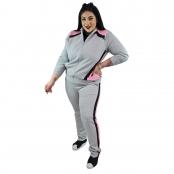 Foto 2 Calça Jogger Moletom Feminina Plus Size Cinza Mescla com Detalhe
