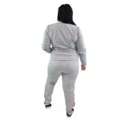 Foto 3 Calça Jogger Moletom Feminina Plus Size Cinza Mescla com Detalhe