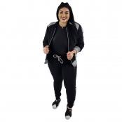 Foto 1 Calça Jogger Moletom Feminina Plus Size Preto e Cinza com Detalhe