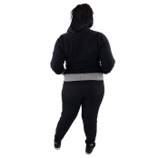 Foto 3 Calça Jogger Moletom Feminina Plus Size Preto e Cinza com Detalhe