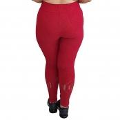 Foto 2 Calça Legging Plus Size com Cós Largo e Detalhe Vazado na Perna Jacquard Vermelho