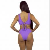 Foto 4 Calcinha de Biquíni Cintura Alta Hot Pant Canelado Lilas