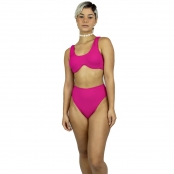 Foto 3 Calcinha de Biquíni Cintura Alta Hot Pant Canelado Pink
