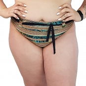 Foto 1 Calcinha de Biquíni Plus Size Cintura Alta com Detalhe de Cinto Indígena Dourada
