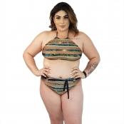 Foto 3 Calcinha de Biquíni Plus Size Cintura Alta com Detalhe de Cinto Indígena Dourada