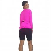 Foto 2 Camiseta Ciclismo Feminina Manga Longa UV 50+ Rosa Florescente