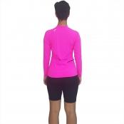 Foto 3 Camiseta Ciclismo Feminina Manga Longa UV 50+ Rosa Florescente