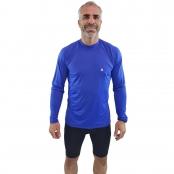 Foto 1 Camiseta Ciclismo Masculina Manga Longa UV 50+ Azul Bic