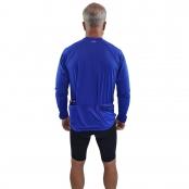 Foto 2 Camiseta Ciclismo Masculina Manga Longa UV 50+ Azul Bic