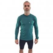 Foto 1 Camiseta Ciclismo Masculina Manga Longa UV 50+ Verde Galápagos