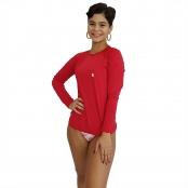 Foto 1 Camiseta Feminina Manga Longa UV 50+ Vermelho