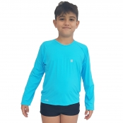 Foto 1 Camiseta Masculina Teen Manga Longa UV 50+ Azul Blau