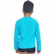 Foto 2 Camiseta Masculina Teen Manga Longa UV 50+ Azul Blau
