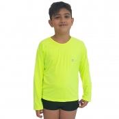 Foto 1 Camiseta Masculina Teen Manga Longa UV 50+ Verde Fluorescente