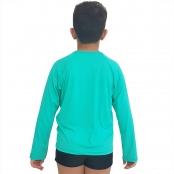 Foto 2 Camiseta Masculina Teen Manga Longa UV 50+ Verde Nanai