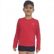 Foto 1 Camiseta Masculina Teen Manga Longa UV 50+ Vermelho