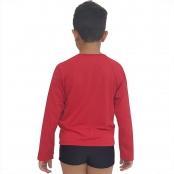 Foto 2 Camiseta Masculina Teen Manga Longa UV 50+ Vermelho