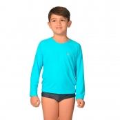Foto 1 Camiseta Infantil Manga Longa UV 50+ Azul Claro
