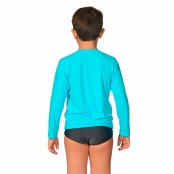 Foto 2 Camiseta Infantil Manga Longa UV 50+ Azul Claro