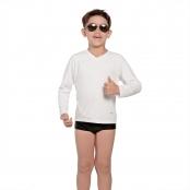 Foto 1 Camiseta Infantil Manga Longa UV 50+ Branco