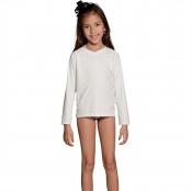 Foto 2 Camiseta Infantil Manga Longa UV 50+ Branco
