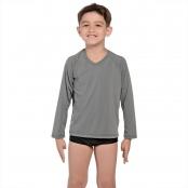Foto 1 Camiseta Infantil Manga Longa UV 50+ Cinza