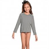 Foto 2 Camiseta Infantil Manga Longa UV 50+ Cinza