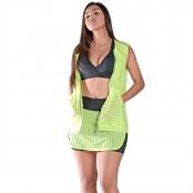 Foto 1 Colete Feminino em Tela com Bolsos e Zíper Frontais Verde Fluorescente