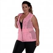 Foto 1 Colete Feminino Plus Size em Tela com Bolsos e Zíper Frontais Rosa Fluorescente