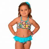 Foto 1 Biquíni Infantil Cropped Frente Única com Babados e Calcinha com Babado Azulejo
