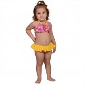 Foto 1 Biquíni Infantil Cropped Frente Única com Babados e Calcinha com Babado Sorvete