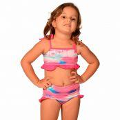 Foto 1 Biquíni Infantil com Alças Finas de Amarrar e Calcinha Larga com Detalhes em Babados Flamingo