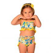 Foto 1 Biquíni Infantil com Alças Finas de Amarrar e Calcinha Larga com Detalhes em Babados Jeans
