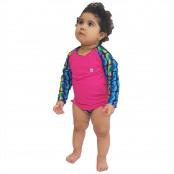 Foto 1 Conjunto Proteção Solar Bebê Infantil Praia UV50+ Abacaxi