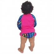 Foto 3 Conjunto Proteção Solar Bebê Infantil Praia UV50+ Abacaxi