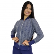Foto 2 Jaqueta Bomber Feminina Plus Size em Renda com Zíper Azul Marinho