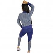 Foto 3 Jaqueta Bomber Feminina Plus Size em Renda com Zíper Azul Marinho