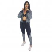Foto 4 Jaqueta Bomber Feminina Plus Size em Renda com Ziper Preto