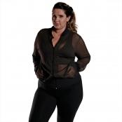 Foto 2 Jaqueta Bomber Feminina Plus Size em Tela com Bolsos e Zíper Preto