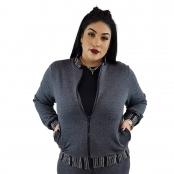 Foto 1 Jaqueta Feminina Moletom Plus Size com Bolsos e Zíper Cinza Escuro