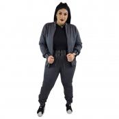 Foto 3 Jaqueta Feminina Moletom Plus Size com Bolsos e Zíper Cinza Escuro